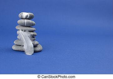top., 羽, 石, ピラミッド, バランス, 概念