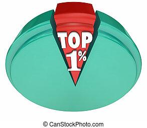 Top 1 One Percent Words Pie Chart Rich Wealthy Elite Upper...