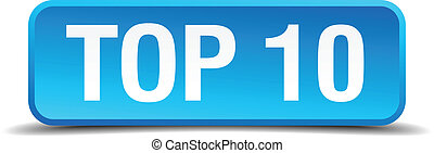Top 10 blue 3d realistic square isolated button