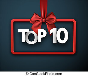 Top 10. Card with red satin bow. Vector background.