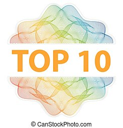 TOP 10 - Guilloche rosette with text on white background