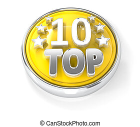 TOP 10 icon on glossy yellow round button