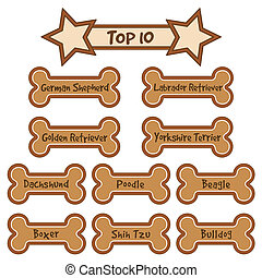 Top 10 Most Popular Dog Breeds - Gingerbread dog bone treats...