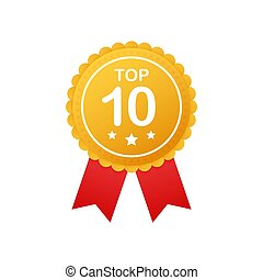 Top 10 rating badges. Top ten Badge, icon, stamp. Vector illustration.