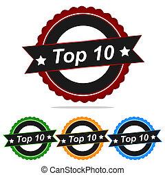 TOP 10 stamp sign text logo.