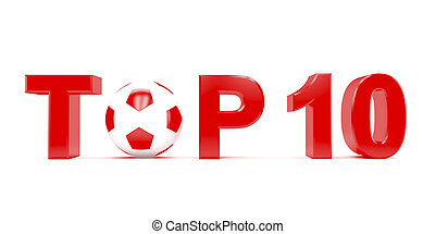 Top 10 - Text TOP 10 with football (soccer) ball instead...