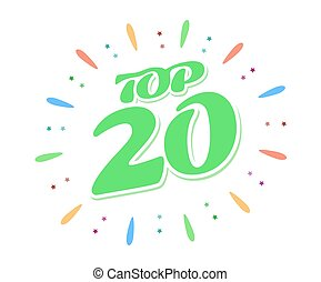 Top 20 green word inside fireworks on white background. A colored volume inscription.