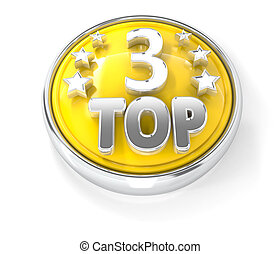 TOP 3 icon on glossy yellow round button