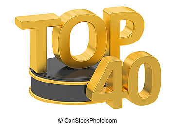 Top 40, 3D rendering isolated on white background