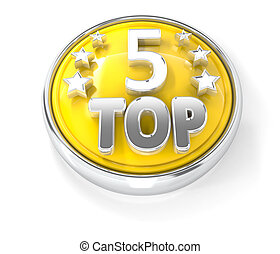 TOP 5 icon on glossy yellow round button