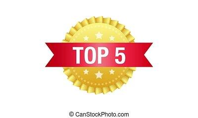 Top 5 label. Golden laurel wreath icon. Motion graphics