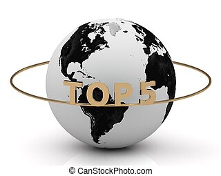 TOP 5 on a gold ring around the earth. Image from the same...