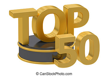 Top 50, 3D rendering isolated on white background
