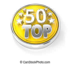 TOP 50 icon on glossy yellow round button