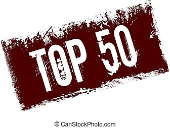 TOP 50 on red retro distressed background.