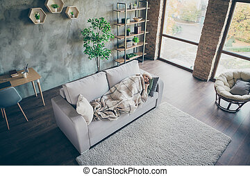 Top above high angle view of her she nice gray-haired middle aged grandma lying on divan resting relaxing recreation industrial brick loft modern style interior house apartment indoors
