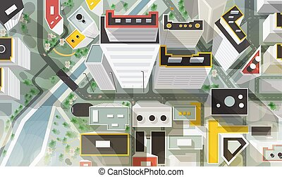 Top, aerial or bird s eye view of city with buildings of modern architecture, skyscrapers, streets, river and bridge. Beautiful urban landscape, plan. Colorful vector illustration in cartoon style.