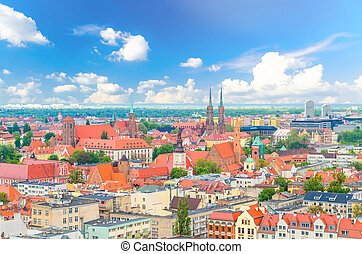 Top aerial panoramic view of Wroclaw old town historical city centre