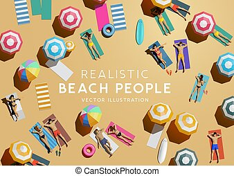 Top Aerial View of People On Beach Holiday