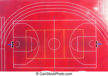 Top aerial view of the basketball court.