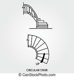 Top and side view of circular stair