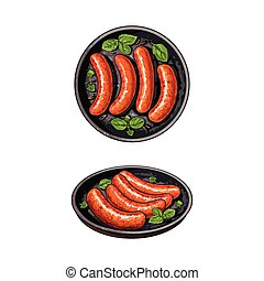 Top and side view pictures of grilled sausages - Top view,...