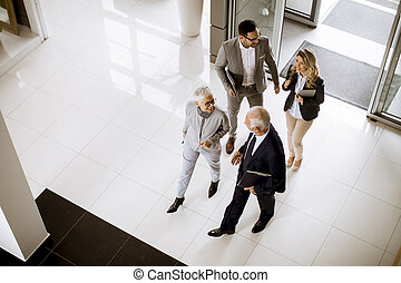Top angle view at businesspeople colleague team