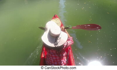 Top Angle View Of Woman Kayaking In Lagoon Action Camera POV Of Girl Paddling On Kayak Boat