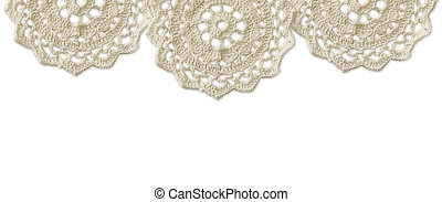 Top border with white crochet doilies