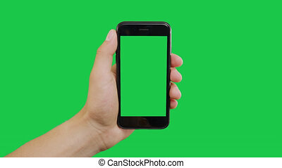 Top Center Click Smartphone Green Screen. Pointing Finger Clicking On Phone Screen with Green Background. Use in any project that depicts finger, gesture, touchscreen and the like.