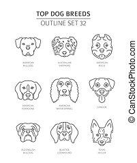 Top dog breeds. Pet outline collection. Vector illustration
