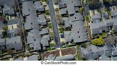 Top down aerial vertical view of residential houses...