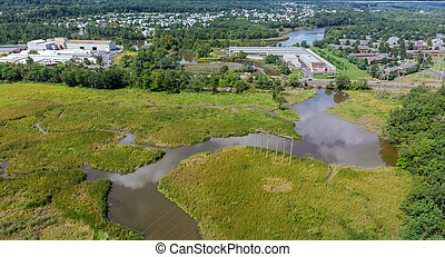 Top down aerial view of River Park in background