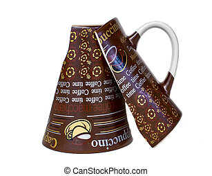 Top down broken coffee mug on white cloth background.