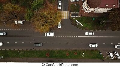 Top Down Drone Point of View - steet city road intersection...