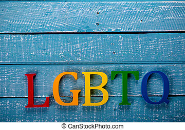 Top down photo of Gay Pride concept - Top down image showing...