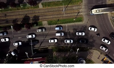 Top down street view of freeway busy city rush hour heavy...