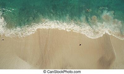 Top down view ocean beach waves break white sand