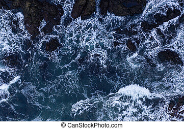 Top down view of giant ocean waves