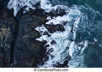 Top down view of giant ocean waves