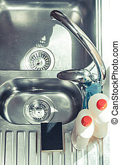 Top down view of kitchen sink