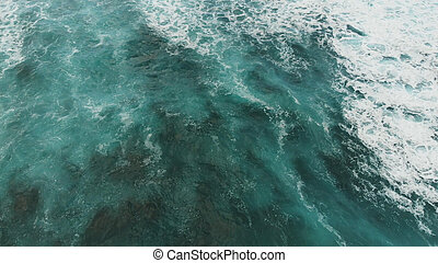 Top down view of the turquoise water of the Atlantic Ocean