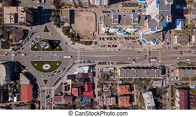 Top down view of urban street road - Top down view of road...