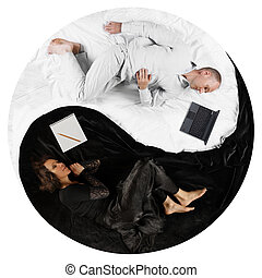 Top down view of?adult couple in yin yang position