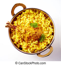 Top down view of single Indian spicy chicken drumstick and fluffy yellow rice with tasty cilantro leaf on top over white surface with gray shadow