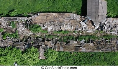 Top drone flight over destroyed farm - Aerial shot of old...