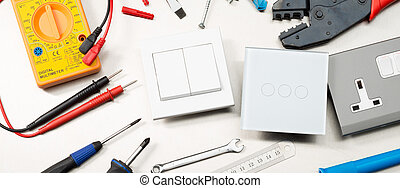 Top electrical tools banner - Various electrician tools and ...
