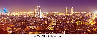 evening kind of Barcelona with landmarks