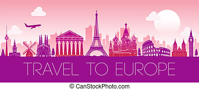 top famous landmark of Europe,silhouette design pink color