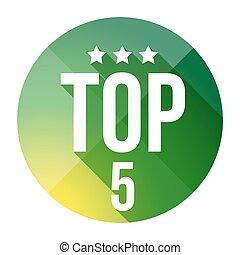 Top Five button vector green